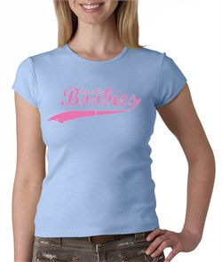 Image of Breast Cancer Ladies T-shirt - Crewneck Save The Boobies Blue Tee