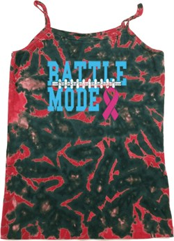 Image of Breast Cancer Awareness Battle Mode Ladies Tie Dye Camisole Tank Top