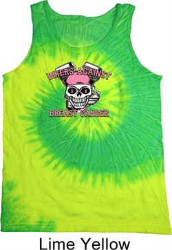Image of Breast Cancer Awareness Bikers Against Breast Cancer Tie Dye Tank Top