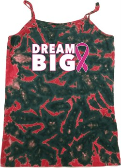 Image of Breast Cancer Awareness Dream Big Ladies Tie Dye Camisole Tank Top