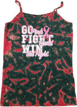 Image of Breast Cancer Awareness Go Fight Win Ladies Tie Dye Camisole Tank Top