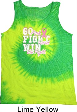 Image of Breast Cancer Awareness Go Fight Win Tie Dye Tank Top