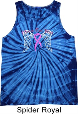 Image of Breast Cancer Awareness Heaven Can Wait Tie Dye Tank Top