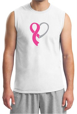 Breast Cancer Awareness Mens Shirt Ribbon Heart Muscle Tee T-Shirt