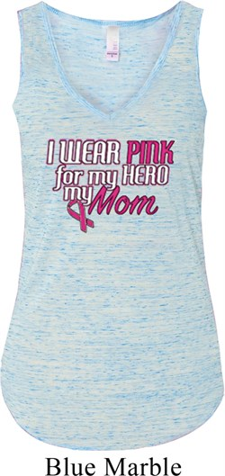 Image of Breast Cancer Awareness Pink for My Hero Ladies Flowy V-neck Tanktop