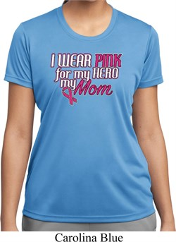 Image of Breast Cancer Awareness Pink for My Hero Ladies Moisture Wicking Shirt