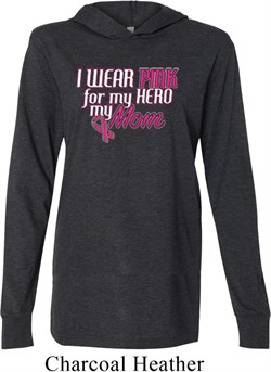 Image of Breast Cancer Awareness Pink for My Hero Lightweight Hoodie Tee
