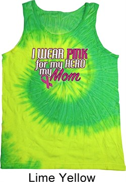 Image of Breast Cancer Awareness Pink for My Hero Tie Dye Tank Top
