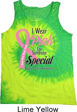 Image of Breast Cancer Awareness Pink For Someone Special Tie Dye Tank Top