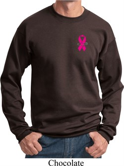 Image of Breast Cancer Awareness Pink Ribbon Pin Pocket Print Sweatshirt