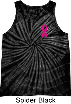 Image of Breast Cancer Awareness Pink Ribbon Pin Pocket Print Tie Dye Tank Top