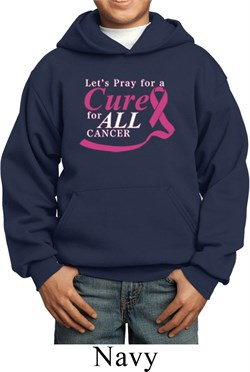 Image of Breast Cancer Awareness Pray for a Cure Kids Hoody
