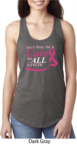 Image of Breast Cancer Awareness Pray for a Cure Ladies Ideal Tank Top