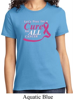 Image of Breast Cancer Awareness Pray for a Cure Ladies Shirt