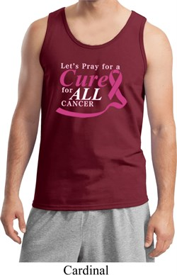 Image of Breast Cancer Awareness Pray for a Cure Mens Tank Top