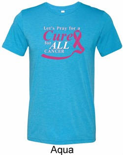 Image of Breast Cancer Awareness Pray for a Cure Mens Tri Blend Crewneck Shirt