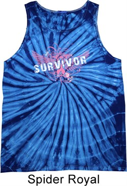Image of Breast Cancer Awareness Survivor Wings Tie Dye Tank Top