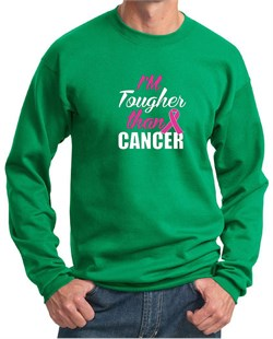 Image of Breast Cancer Awareness Sweatshirt Tougher Than Cancer Sweat Shirt