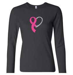 Image of Breast Cancer Ladies Shirt Ribbon Heart Long Sleeve Tee T-Shirt