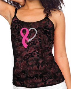Image of Breast Cancer Ladies Tanktop Ribbon Heart Tie Dye Camisole Tank Top