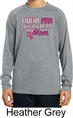 Image of Breast Cancer Pink for My Hero Kids Dry Wicking Long Sleeve Shirt