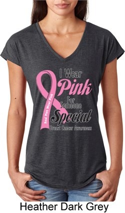 Image of Breast Cancer Pink For Someone Special Ladies Tri Blend V-Neck Shirt