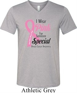 Image of Breast Cancer Pink For Someone Special Mens Tri Blend V-neck Shirt