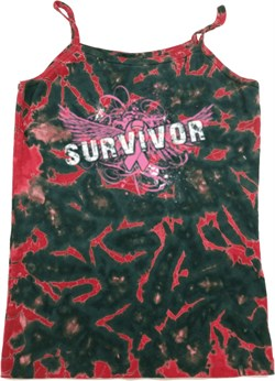 Image of Breast Cancer Survivor Wings Ladies Tie Dye Camisole Tank Top