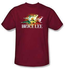 Image of Bruce Lee T-shirt Adult Tri Color Cardinal Red