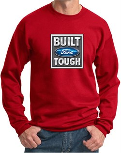 Image of Built Ford Tough Sweatshirt Ford Logo Mens Red Sweat Shirt