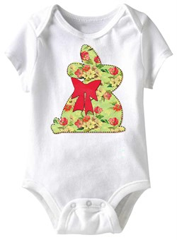 Image of Bunny Stitch Funny Baby Romper White Infant Babies Creeper