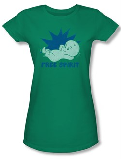 Image of Casper The Friendly Ghost Shirt Juniors Free Spirit Kelly Green Tee