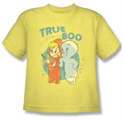 Image of Casper The Friendly Ghost Shirt Kids True Boo Yellow Youth Tee T-Shirt