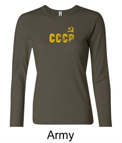 Image of CCCP Ladies T-shirt Soviet Union USSR Insignia Long Sleeve Shirt