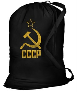 Cccp Canvas Laundry Bag - 100% Cotton Black Soviet Sack