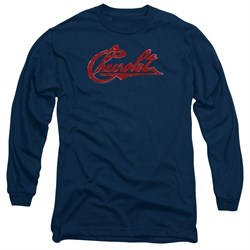 Image of Chevy Long Sleeve Shirt Distressed Script Navy Tee T-Shirt