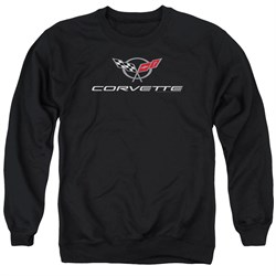Image of Chevy Sweatshirt Corvette Emblem Adult Black Sweat Shirt