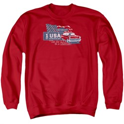 Chevy Sweatshirt See The USA Chevrolet Adult Red Sweat Shirt