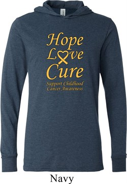 Image of Childhood Cancer Awareness Hope Love Cure Lightweight Hoodie