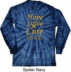 Image of Childhood Cancer Awareness Hope Love Cure Long Sleeve Tie Dye