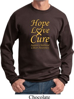 Image of Childhood Cancer Awareness Hope Love Cure Sweatshirt