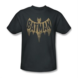 Classic Batman Shirt Distressed Logo Charcoal T-Shirt
