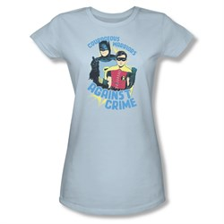 Classic Batman Shirt Juniors Against Crime Light Blue T-Shirt