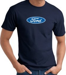 Image of Ford Logo T-shirt - Oval Emblem Classic Car Adult Navy Tee Shirt
