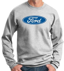 Image of Ford Logo Sweatshirt - Oval Emblem Adult Ash Sweat Shirt
