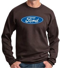 Image of Ford Logo Sweatshirt - Oval Emblem Adult Brown Sweat Shirt