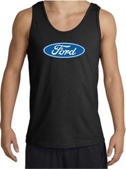 Image of Ford Logo Tank Top - Oval Emblem Classic Car Adult Black Tanktop
