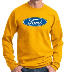 Image of Ford Logo Sweatshirt - Oval Emblem Adult Gold Sweat Shirt