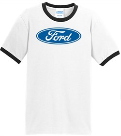 Image of Ford Logo Ringer T-Shirt - Oval Emblem Adult White/Black Tee