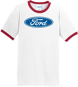 Image of Ford Logo Ringer T-Shirt - Oval Emblem Adult White/Red Tee